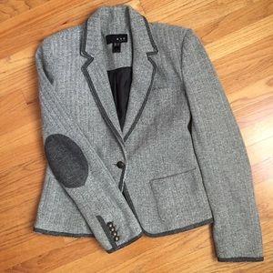 Mango Gray Herringbone Tweed Blazer